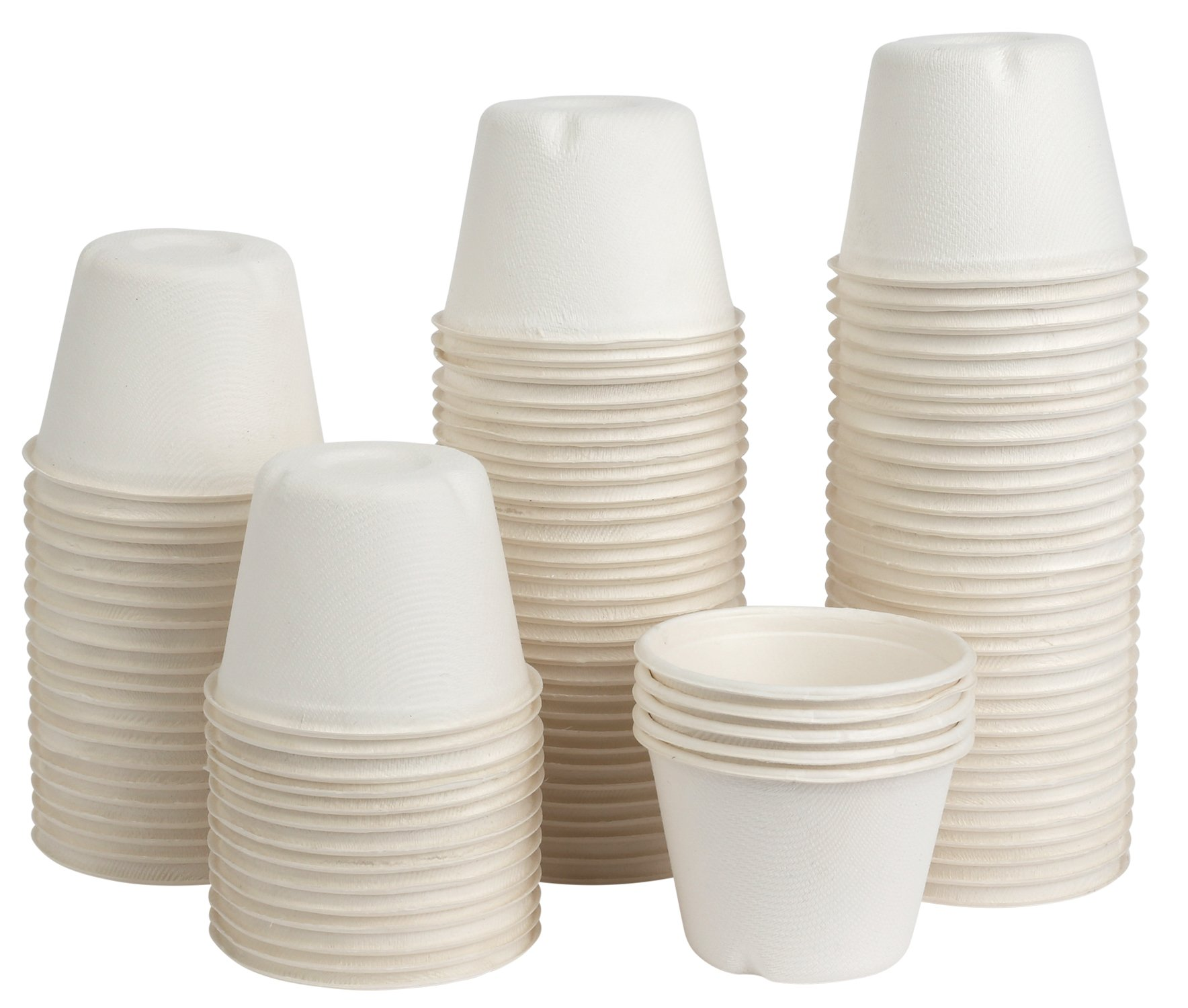 Brheez Portion Souffle Bagasse Cups - Perfect for Condiments and Samples, Compostable, Biodegradable and Recyclable, Eco Friendly Alternative to Paper and Plastic (4 oz Cups, 200)
