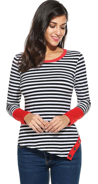 0d0ebff08945a1 POGTMM Women s Long Sleeve Crew Neck Button Hem Striped Patchwork T-Shirt  Tops