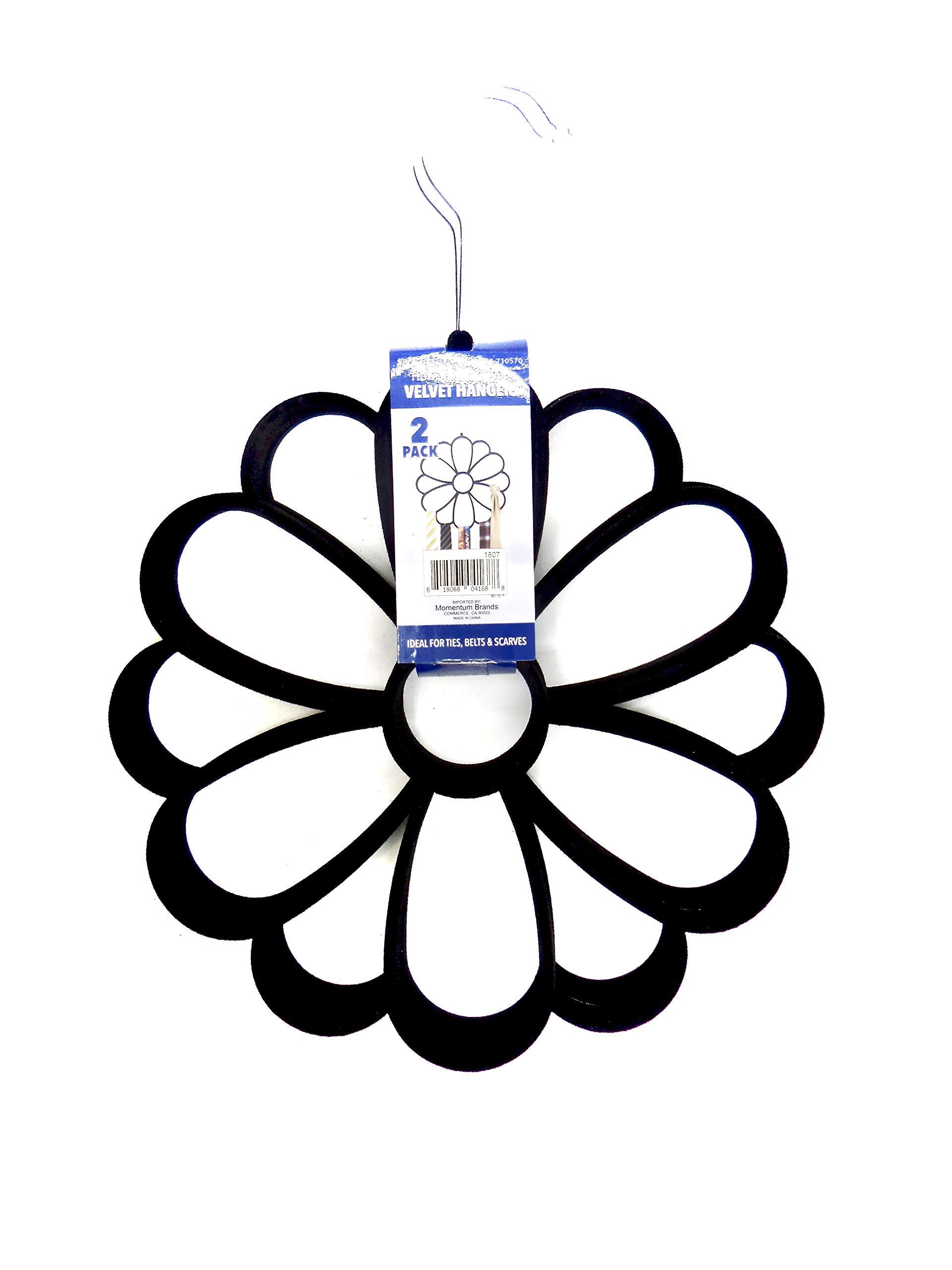 Velvet Scarf/Tie Hanger,2-Pk. Velvet,Silver Hook (Black) by Velvet Hanger