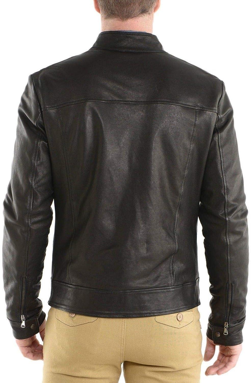brandMe Mens Genuine Leather Pure Lambskin Biker Jacket MM245