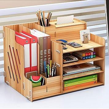 Ecent Organizador de Escritorio de Madera + Caja de Toallas + Soporte para bolígrafos Soporte de Documentos para Suministros de Oficina, hogar, ...