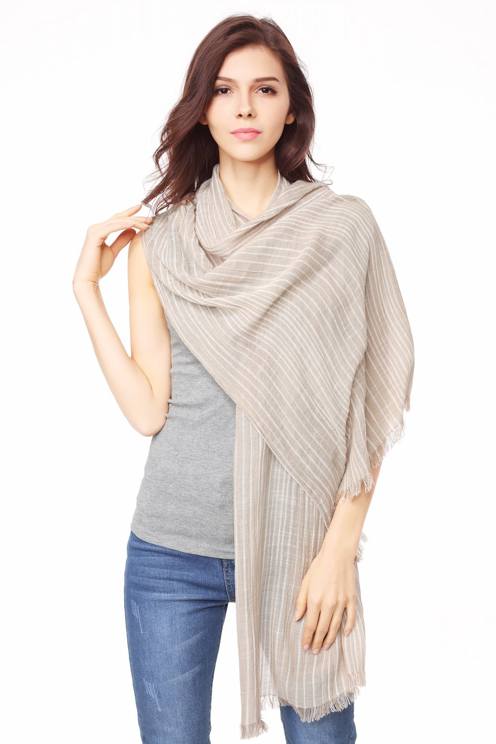 Cotton Scarf Shawl Wrap Soft Lightweight Scarves And Wraps For Men And Women. (Beige cream)