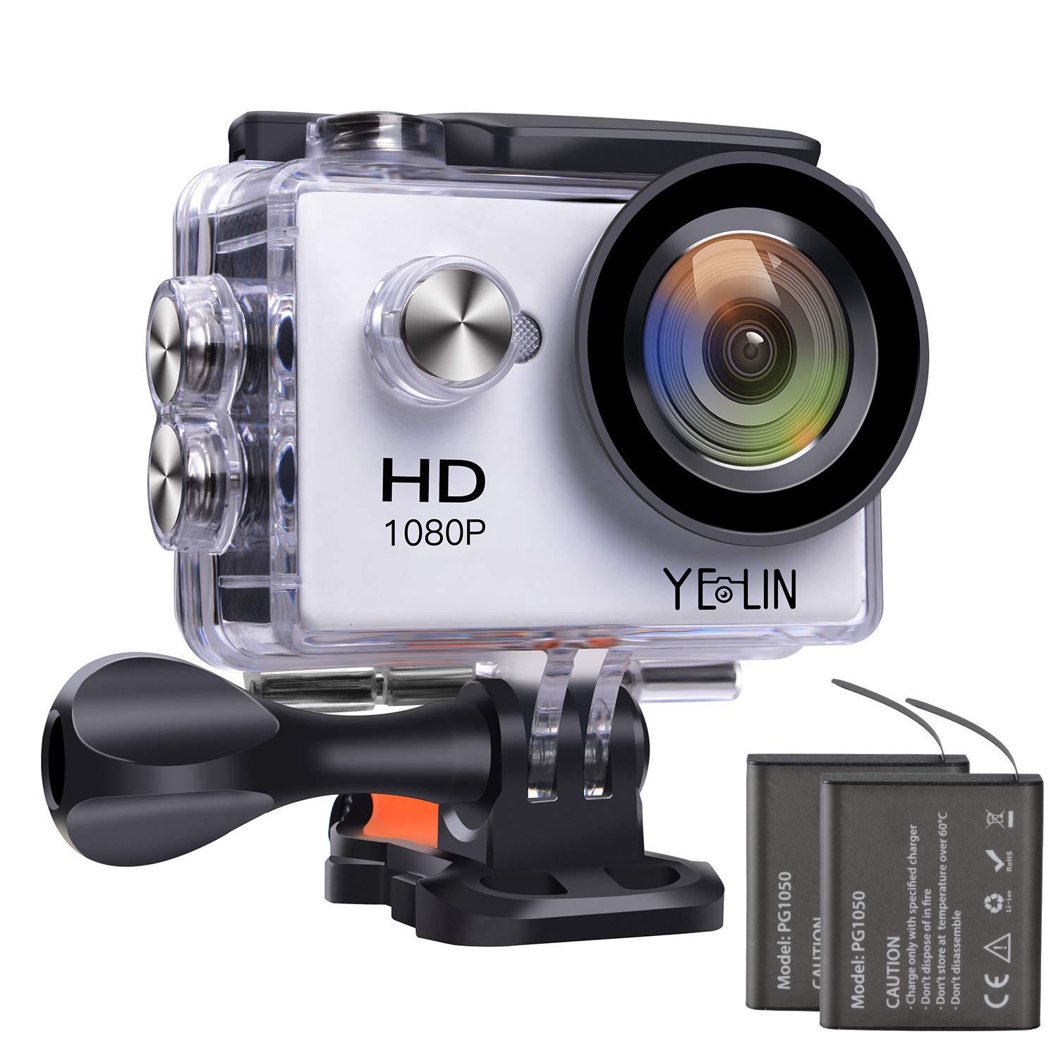 YELIN 1080P Action Camera Waterproof Sport Camera HD Camcorder Underwater Camera with 2 inch LCD Screen/170 Wide Angle Lens/2 Rechargeable Batteries (White)
