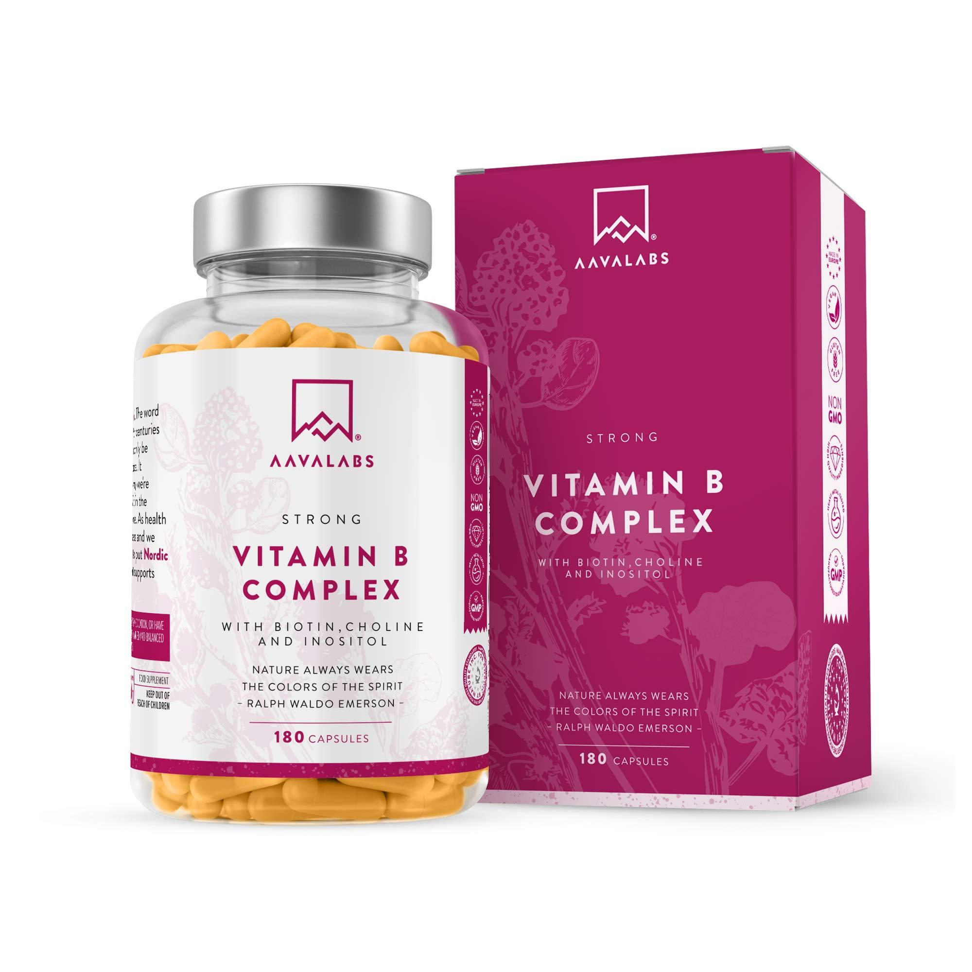 Vitamin B Complex High Strength Capsules - Includes Essential Multi B-Vitamins B12 Tablets, B6, Vitamin B3, B5, Biotin, Folate, Niacin, Inositol - 1 Capsule Daily (180 Capsule Supply) - 100% Vegan