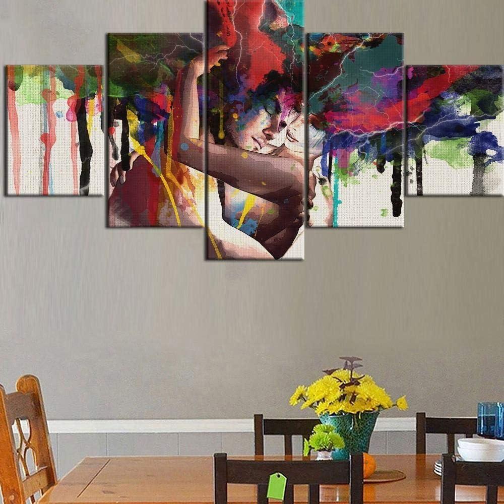 HD print 5 pintura de lienzo de primer nivel graffiti arte abstracto hombres y mujeres tipo póster decoración del hogar sala marco pintura con cinco cuadros no tejido enmarcado NA
