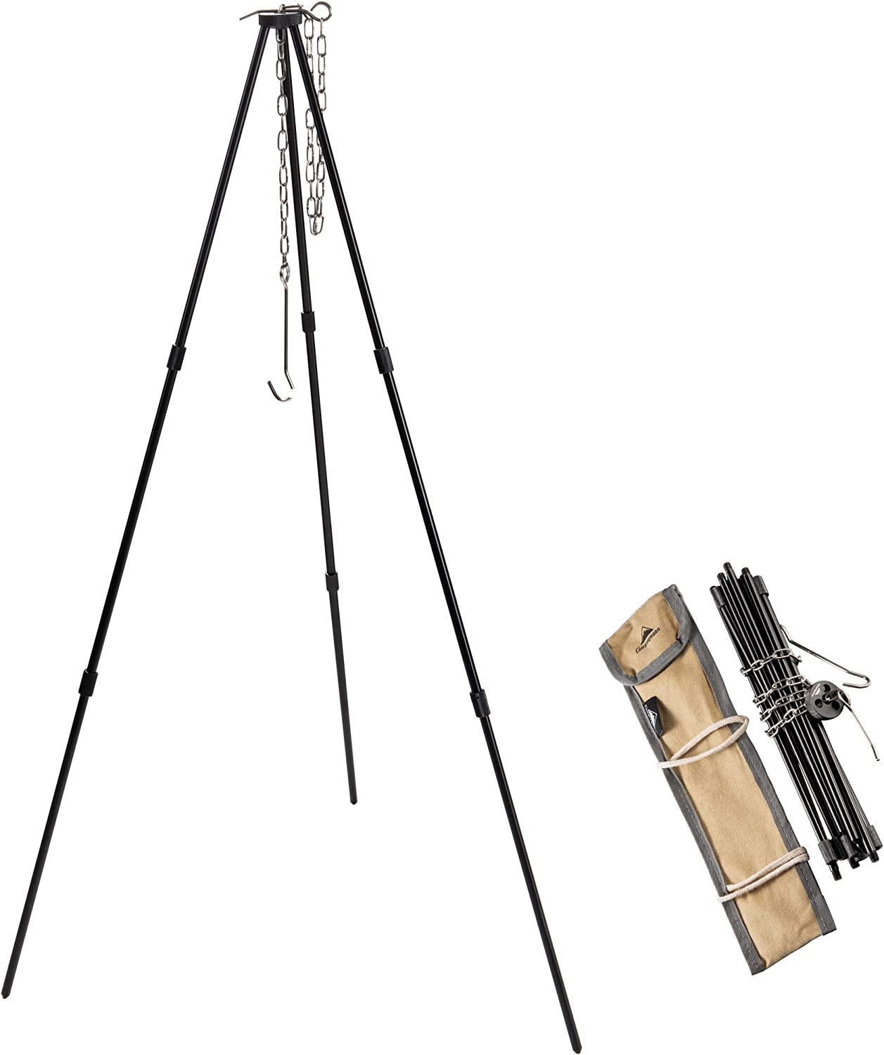 CAMPINGMOON 31.5-inch Height Portable Campfire Camping Tripod Black with Carrying Bag MS-080-BK