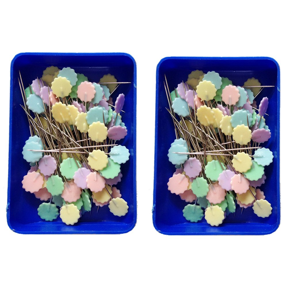 Pastel 2 x 100 Pack Rimobul Flat 1.9 Flower Head Pins Boxed