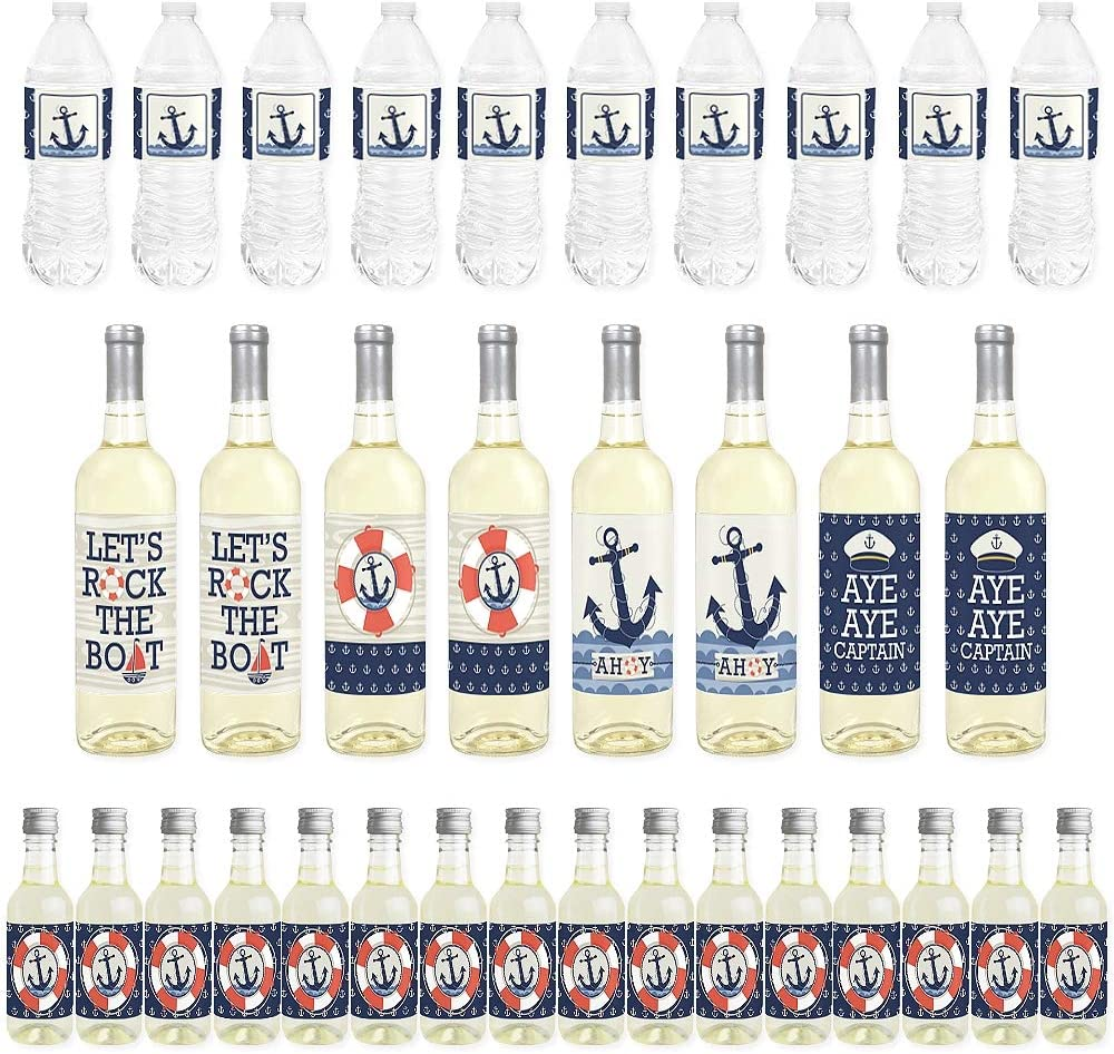 Big Dot of Happiness Ahoy - Nautical - Mini Wine Bottle Labels, Wine Bottle Labels and Water Bottle Labels - Baby Shower or Birthday Party Decorations - Beverage Bar Kit - 34 Pieces