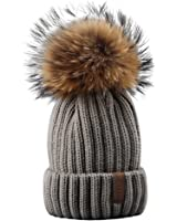FURTALK Winter Knit Hat Real Raccoon Fur Pom Pom Womens Girls Knit Beanie Hat