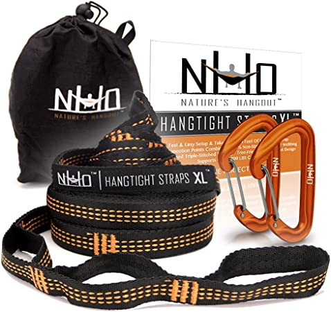 Rings Lightweight Fits All Hammocks Heavy Duty Hooks and O Extra Long Portable Strong Hammock Tree Straps with S 2 Set Fast /& Easily Setup