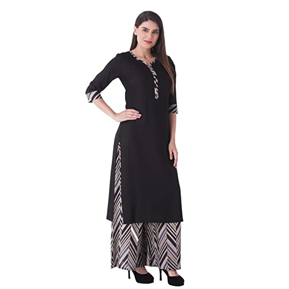 232b85aca1 KHUSHAL Women's Cotton Kurti with Palazzo Pant Set (Black, Small ...