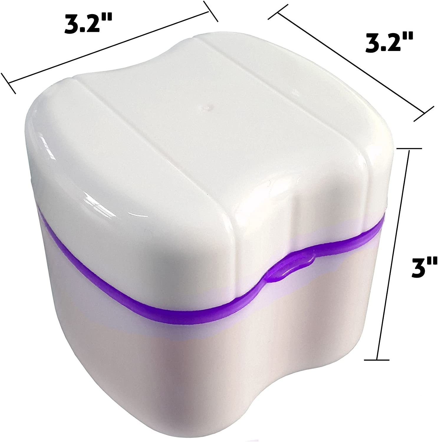 Gus Craft Lavender Purple Denture Box with Simple Retrieval Tab, Great for Dental Care, Easy to Open, Store and Retrieve (Lavender Purple): Home & Kitchen
