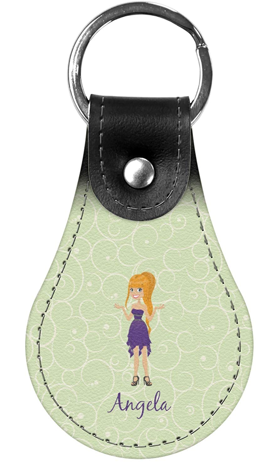 Personalized Custom Character Woman Genuine Leather Keychain