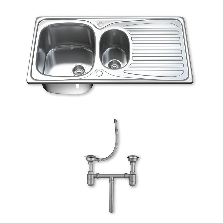 Dihl KS-1501-WST2 1.5 Fregadero de cocina de acero inoxidable, diseñ o moderno diseño moderno