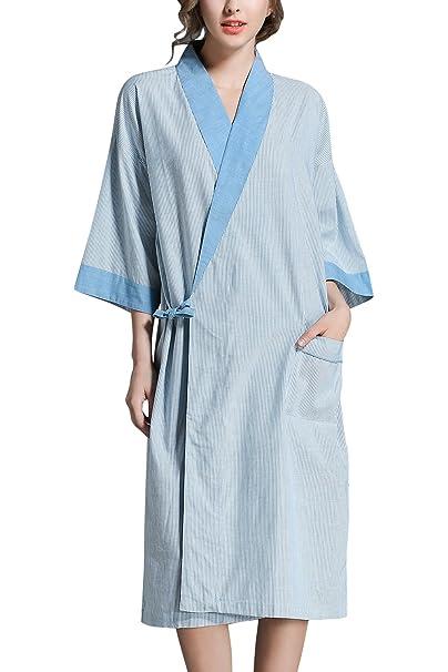 Dolamen Unisex Mujer Hombre Vestido Kimono Lino de Algodon, Camisón para mujer, Robe Albornoz