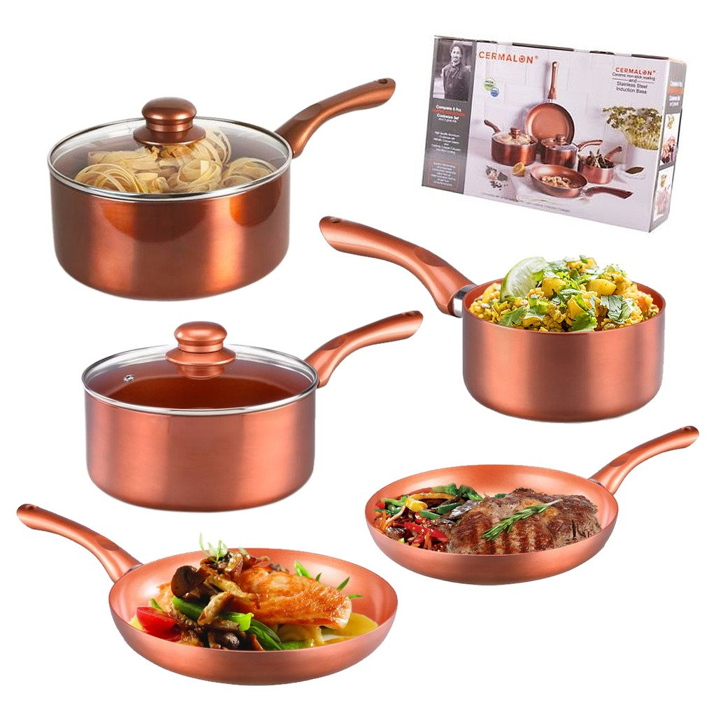 5 Piece Copper Pan Set Non Stick Aluminium Induction Hob Ceramic Stainless Steel Guaranteed4less