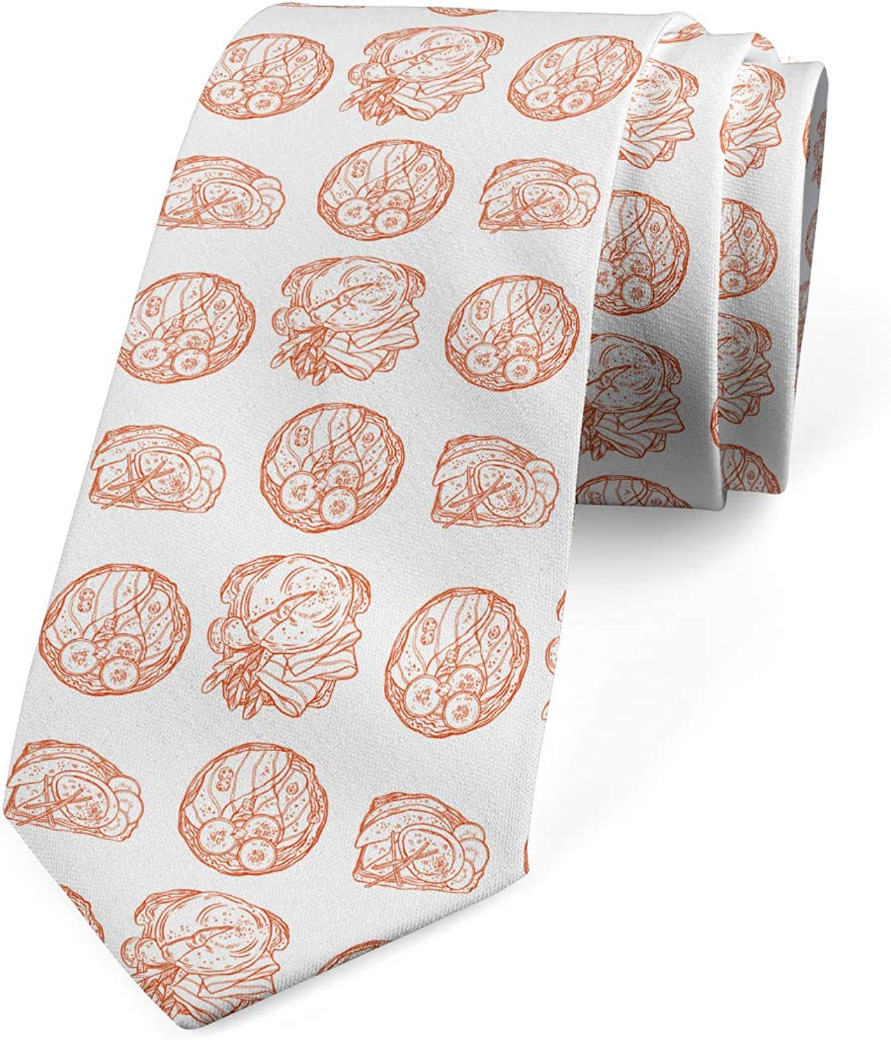 3.7 Ambesonne Mens Tie Pale Vermilion and White Delicious Breakfast Toasts