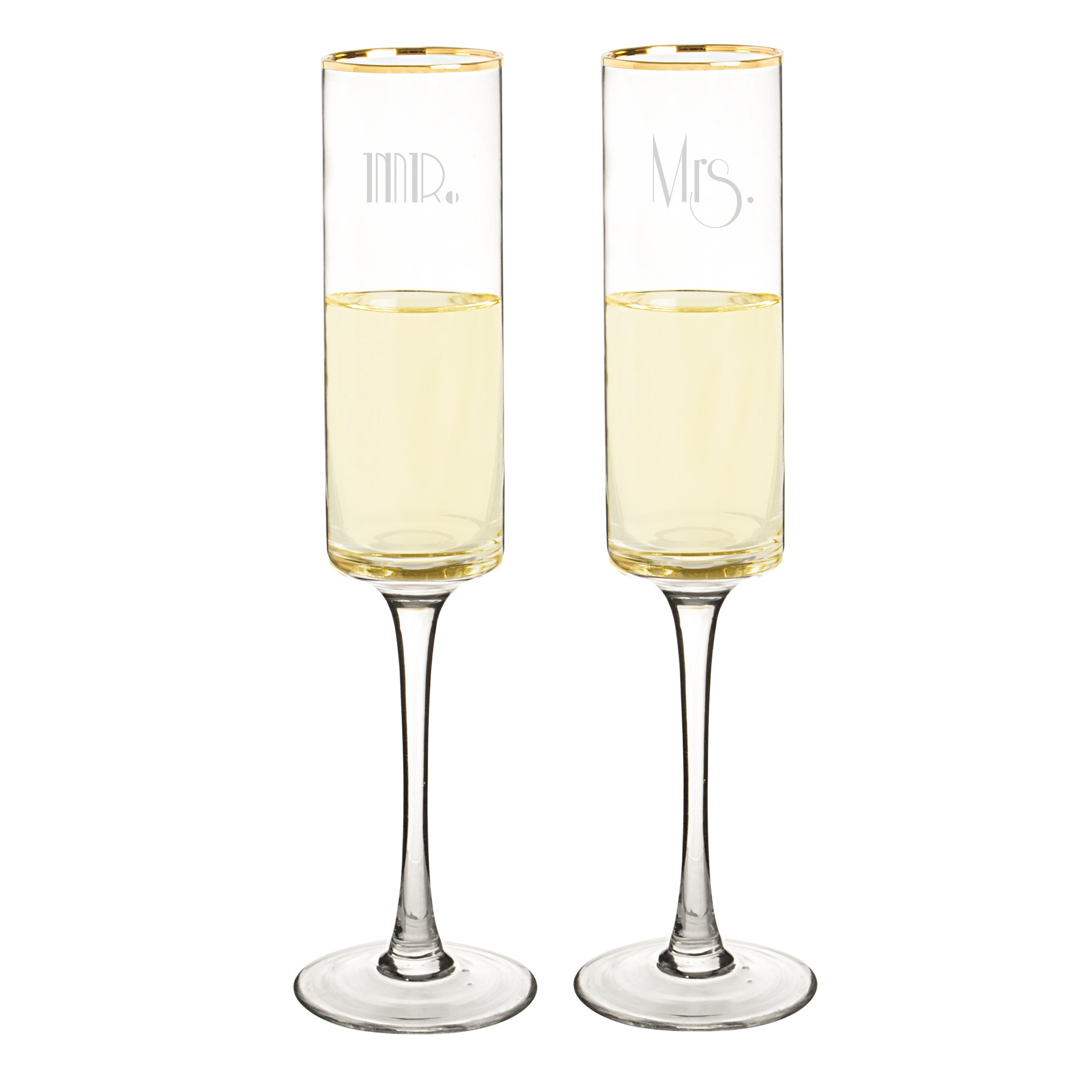 Cathy's Concepts GMM-3668G Mr. & Mrs. Gatsby Rim Contemporary Champagne Flutes, Clear/Gold by Cathy's Concepts (Image #2)