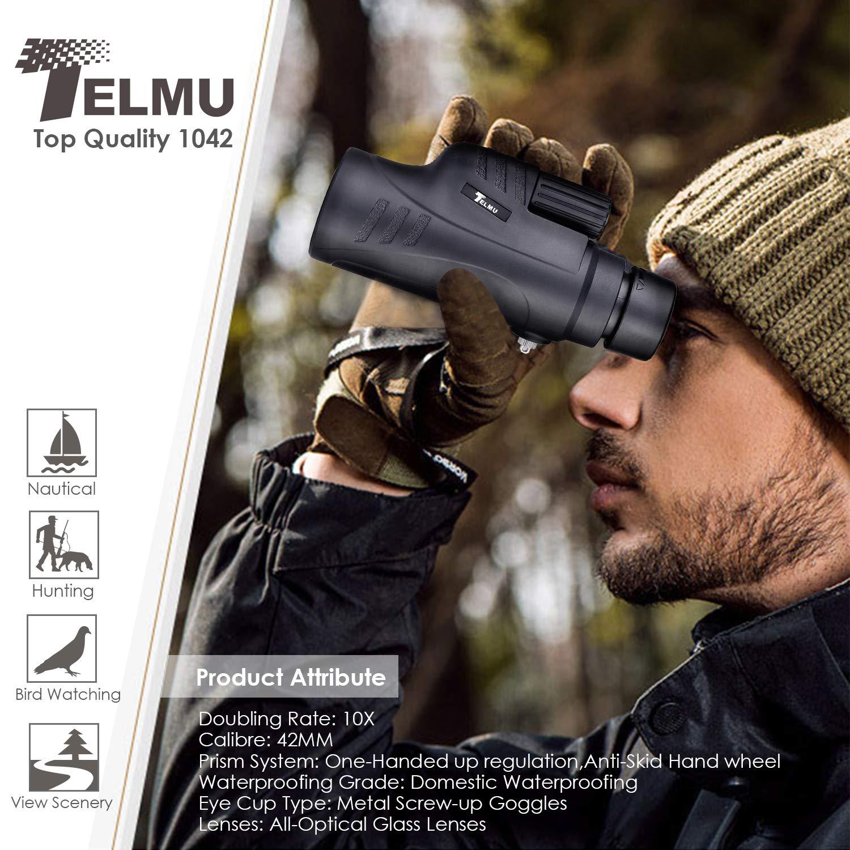 TELMU 10X42 Telescopio Monocular para Movil BAK4 Prisma FMC Impermeable y Antivaho Monoculares de Largo Alcance para avistamiento de Aves Caza Camping (Incluye el Suporte de Movil)