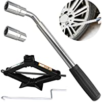 Scissor Jack and Wrench 2 Ton with Speed Handle for Cars/Caravans/Honda Jazz/Audi/BMW/Benz/Ford - Tyre Repair Tools Kit Lift Jacks (High Quality 5-Year Guarantee)