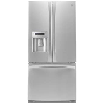 kenmore refrigerator stainless steel. kenmore elite 73133 24.2 cu. ft. french door bottom freezer refrigerator with dispenser in stainless steel o