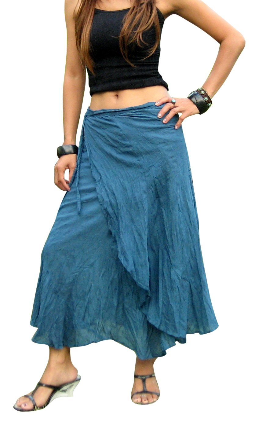 Billy's Thai Shop Cotton Wrap Skirt Hippie Wrap Skirt Boho Skirts for Women, Blue S by Billy's Thai Shop
