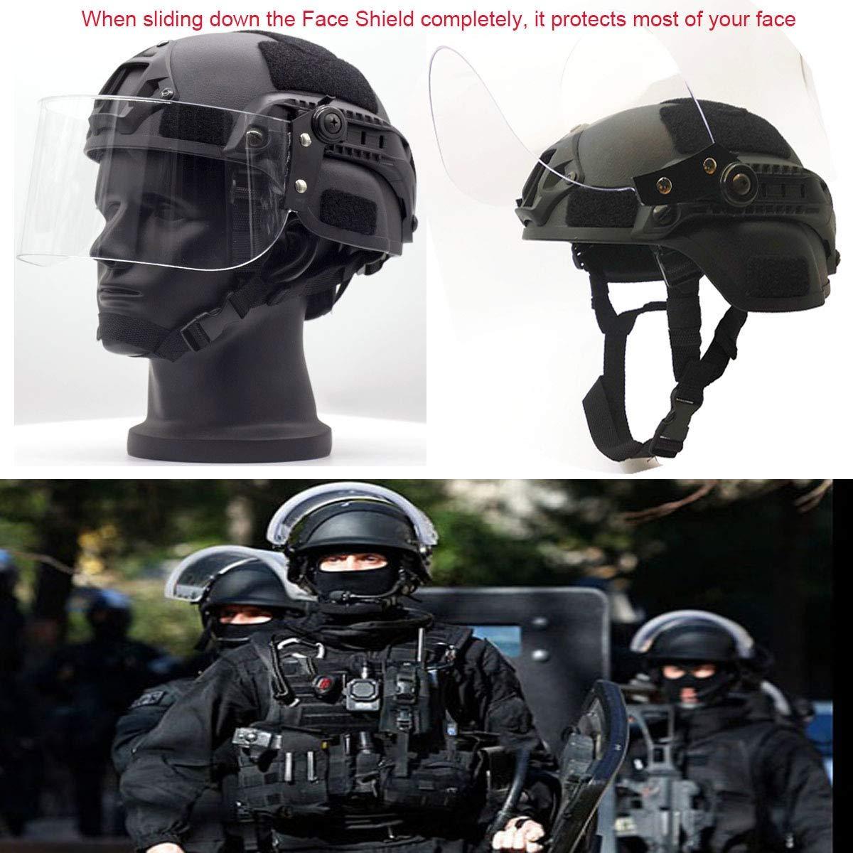 CS Transparent Anti-Visage Airsoft Protection Police Paintball Militaire SWAT Patrol Riot Helmet Rziioo Casque Tactique avec Masque de Protection
