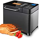 KBS 17-in-1 Bread Machine with Double Tubes, 2LB XL Bread Maker with Fruit Nut Dispenser, Ceramic Pan& Digital Touch…