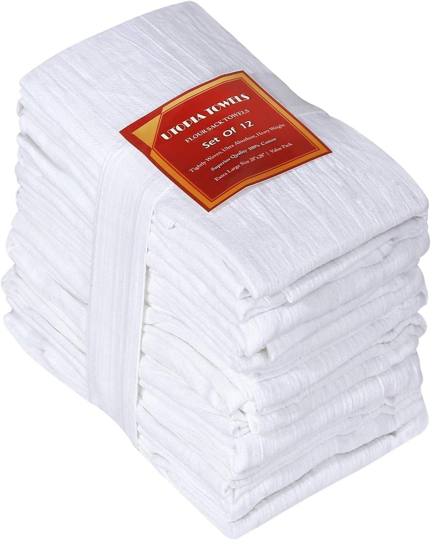 Utopia Kitchen Flour Sack Dish Towels, 12 Pack Cotton Kitchen Towels - 28 x 28 Inches: Home & Kitchen