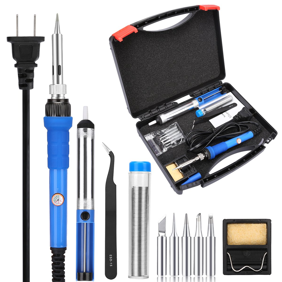 KEDSUM 7 in 1 Soldering Iron Kit with Tool Case, 60W 110V-Adjustable Temperature Welding Soldering Iron with 5 Soldering Tips, Solder Wire, Desoldering Pump, Tweezer, Stand with Cleaning Sponge