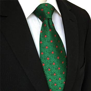 shlax&wing Hombre La Moda Seda Corbatas Para Verde Rojo Puntos ...
