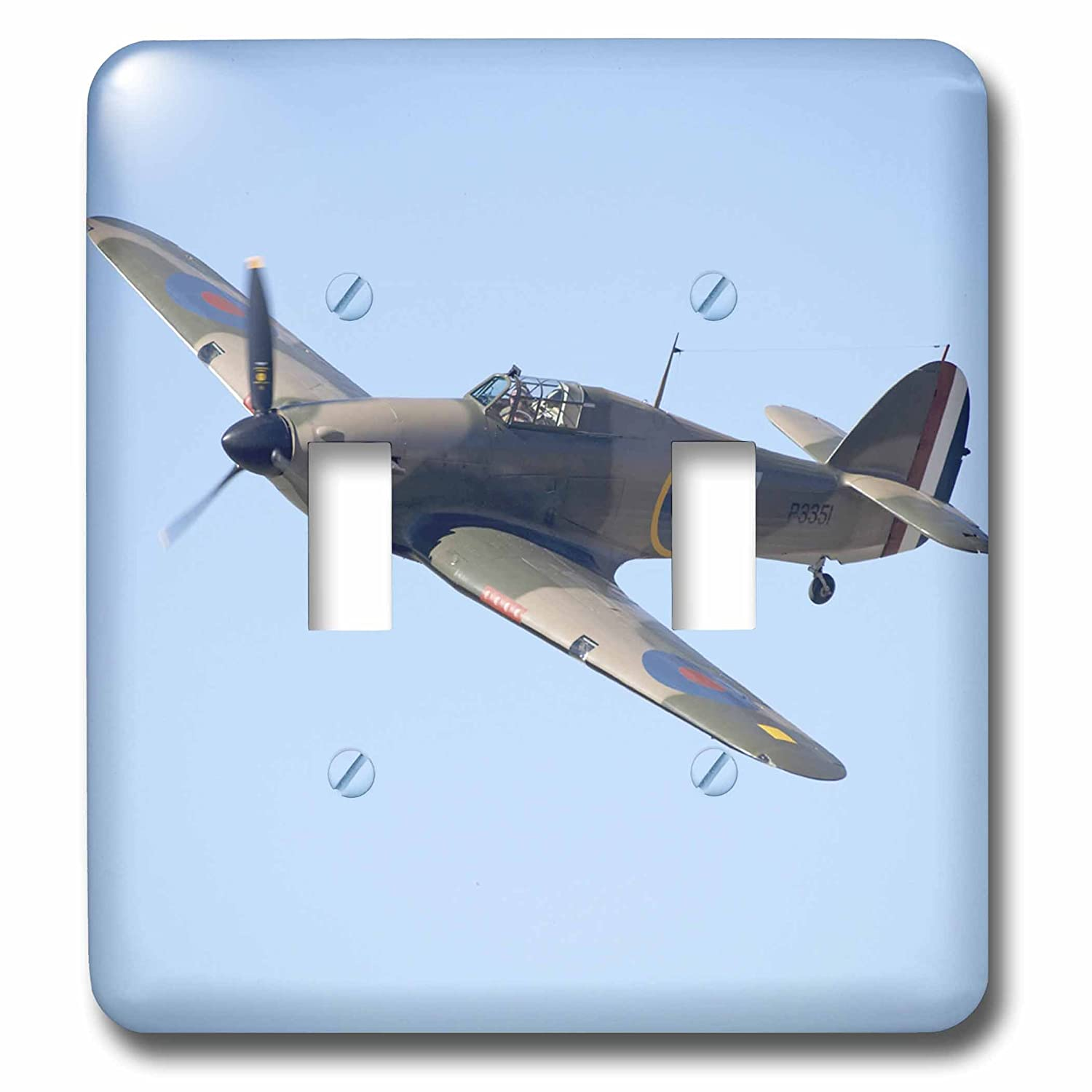 3dRose lsp/_76037/_2 Hawker Hurricane British and allied WWII Fighter Plane Double Toggle Switch