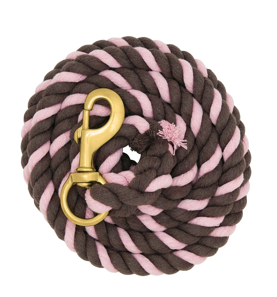 Weaver Leather Striped Cotton Lead Rope with Solid Brass 225 Snap, Chocolate Pastel Pink