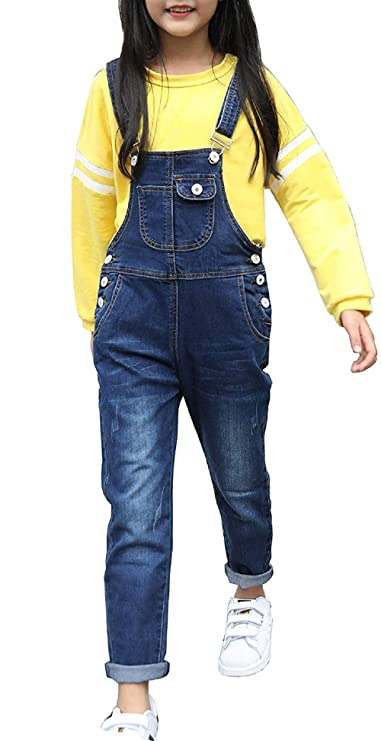 KiKibaby Girls Big Kid Distressed Bib Overalls Blue BF Style Cuffed Denim Long Jeans Trousers Blue 130 best girls' overalls