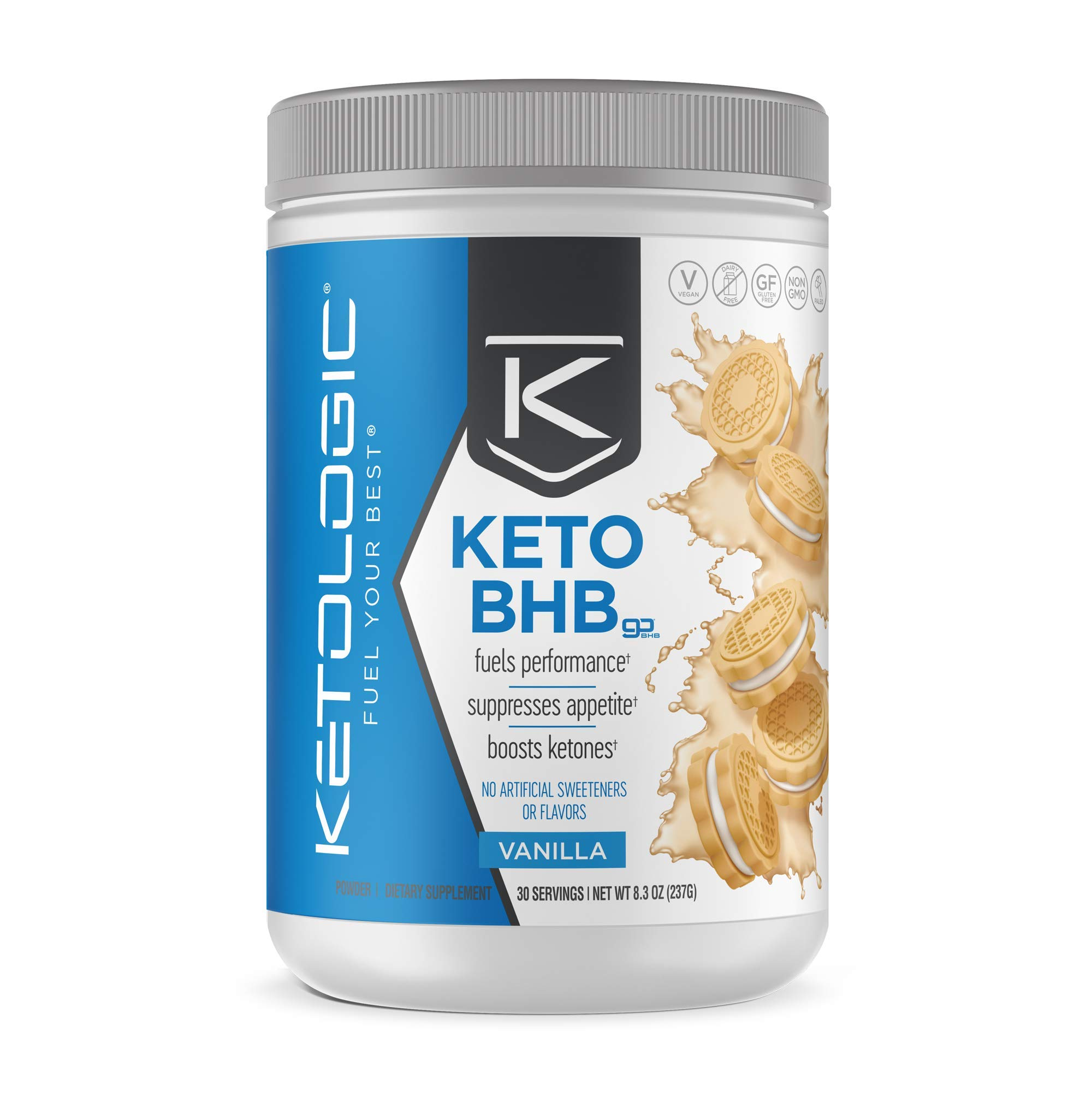 KetoLogic Keto BHB - Exogenous Ketones Supplement   Supports Ketosis & Weight Management, Increases Energy & Focus   Low Carb, Electrolytes, Beta-Hydroxybutyrate BHB Salts   Vanilla - 30 Servings by Ketologic