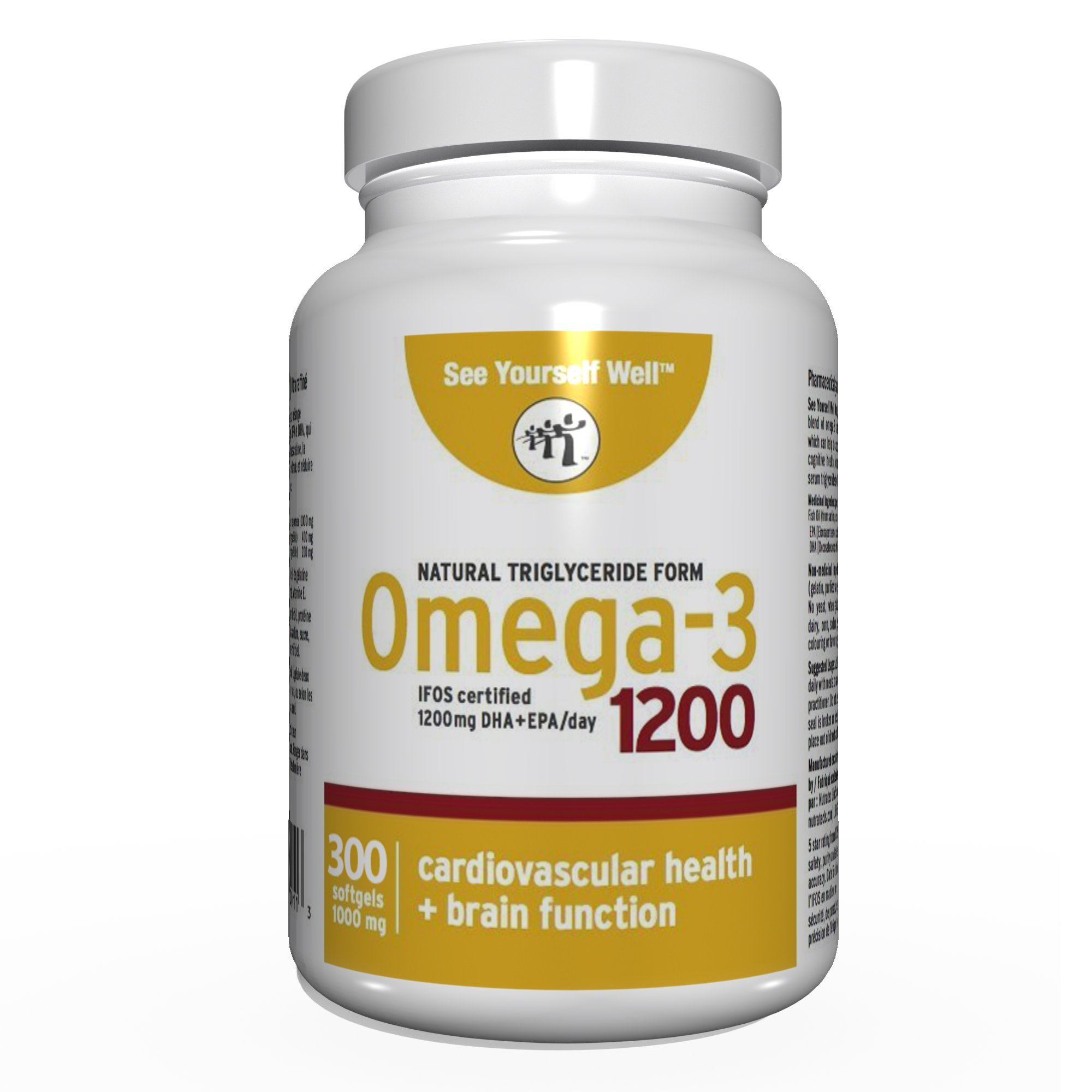 See Yourself Well Natural Triglyceride Form Omega 3 Fish Oil Softgels, 1200 (300 Count)
