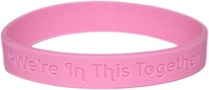 Cancer Awareness Bracelets Gift for Patients Family and Friends Survivors Set of 2 Pink Ribbon Silicone Rubber Wristbands