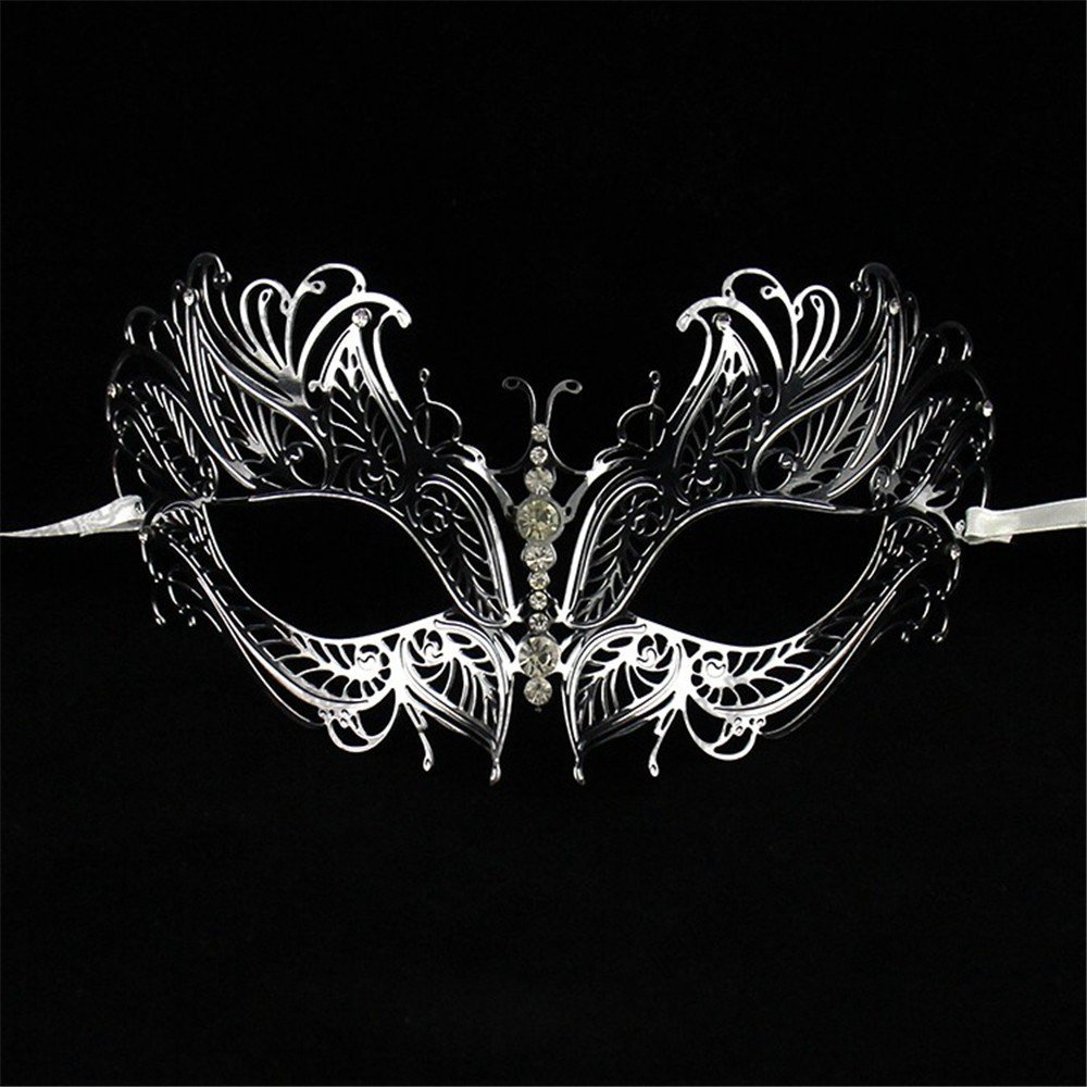 Face mask Shield Veil Guard Screen Domino False Front Diamond Wrought Iron Party mask Make-up Dance Princess Dress up Gold and Silver mask Metal mask Female Prop Decoration 2
