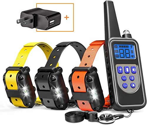 FunniPets Dog Training Collar for 3 Dogs, Dog Shock Collar with Remote 2600ft Range Waterproof Electronic Dog Collar for Medium and Large Dogs with 4 Training Modes Light Shock Vibration Beep