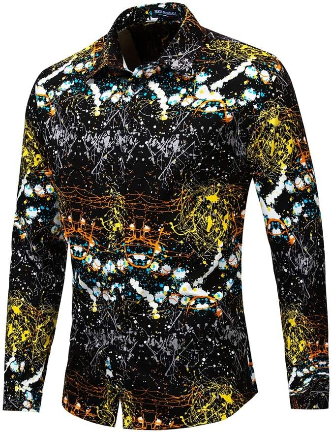 Diseño Deslumbrante y Fruncido de los Hombres Camisa de Vestir de Manga Larga con Botones y Botones Ajustados y Ajustados Camisa Casual con Cuello Abotonado (Color : Oro, tamaño : XL): Amazon.es: