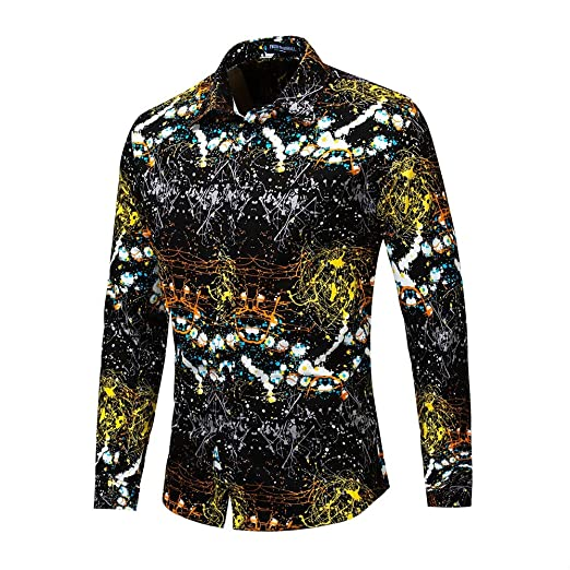 Yzibei Camisa de Hombre Diseño Deslumbrante y Fruncido de ...