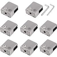 AUTOUTLET Abrazaderas de Vidrio 8-10mm, 8 Piezas Abrazadera de Cristal Cuadrado de Acero Inoxidable 304 Ajustable para…