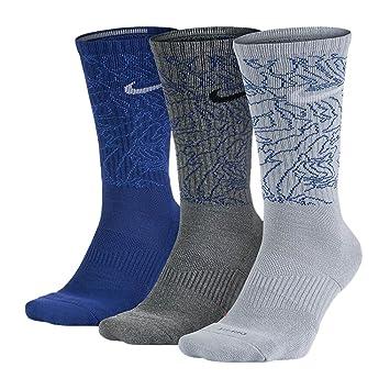 Nike Dri-Fit para hombre 3 Pack Triple Calcetines de volar - SX5412-906, Azul/Gris: Amazon.es: Deportes y aire libre