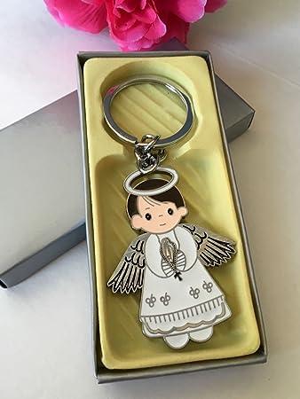 Amazon.com: 12 pcs nuevo ángel Boy llavero favor bautismo ...