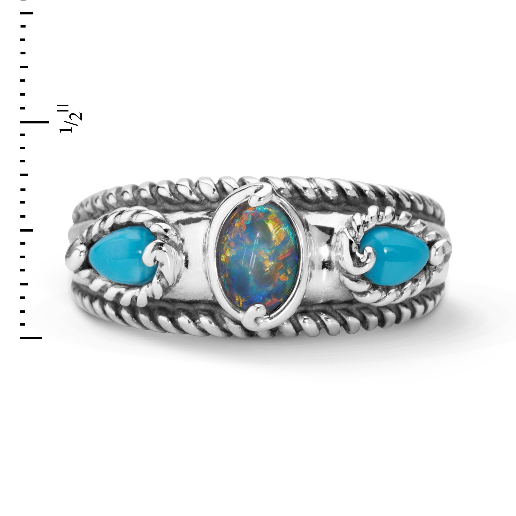 Carolyn Pollack Sterling Silver Sleeping Beauty Turquoise Opal Triple Band Ring,  size  8 by Carolyn Pollack (Image #4)
