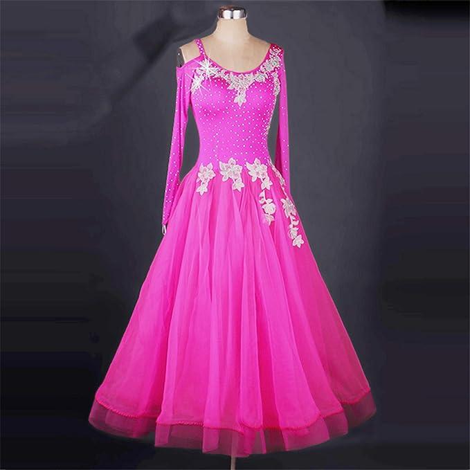 7369297b3 Amazon.com: SIQIAN Adult/Child Pink Embroidered International Standard  Ballroom Dance Dress Party Dance Evening Modern Dress: Clothing