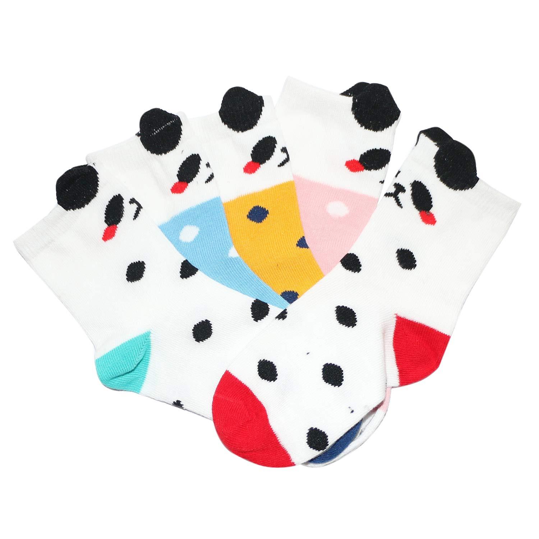 Kaariss Kids Toddler Girls Cotton Crew Socks Cartoon Animal Socks 5 Pairs