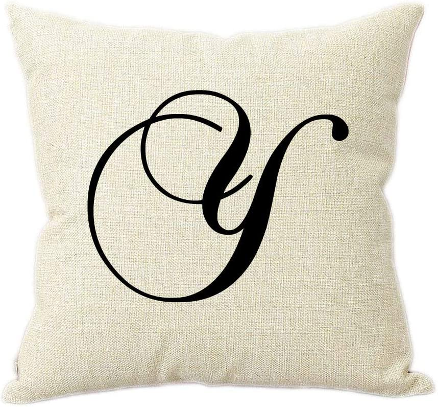 Partyposhdesigns Intricate Script Letter Y Linen Throw Pillow 15 Inch Square With Insert Included Home Kitchen