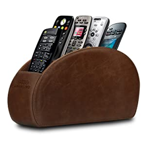 Londo Remote Controller Holder Organizer Store DVD Blu-ray TV Roku or Apple TV Remotes - Italian Genuine Leather with Suede Lining Living or Bedroom Storage – Rustic Brown