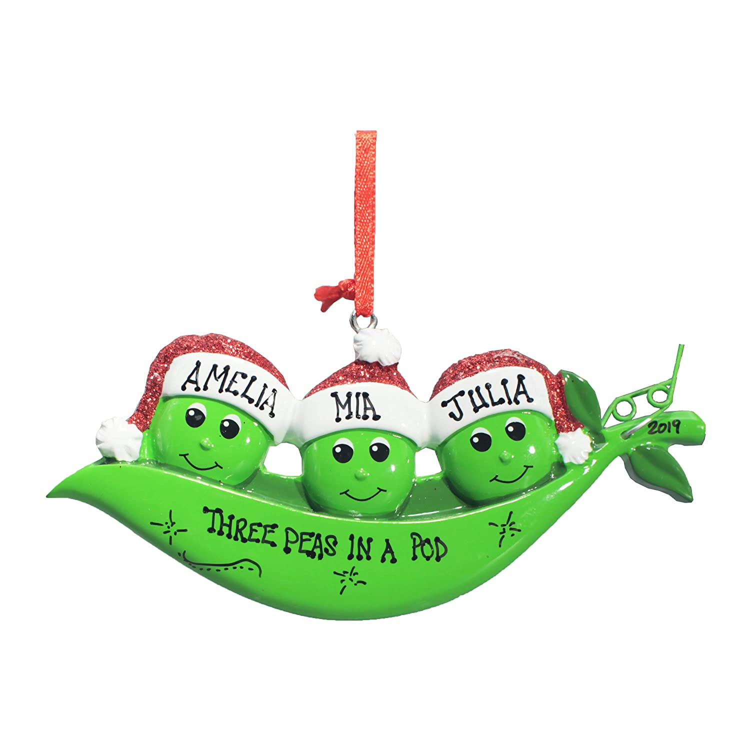 Personalized Christmas Tree Decoration Ornament 2019 – Traditional Home Décor – New Year Santa Gift - Holiday Fun w Hanging Hook - New Peapod Family of 3 - Free Customization